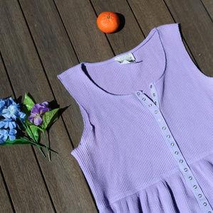 Vintage | Lavender Purple Snap Maxi Dress